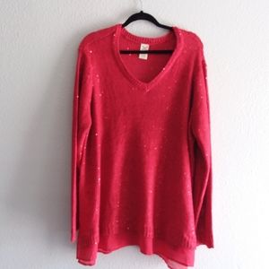 Faded Glory sparkly red sweater with Shear trim-4X
